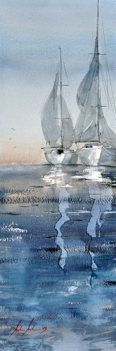"""*Watercolor - """"Boats"""" by Anders Andersson"""
