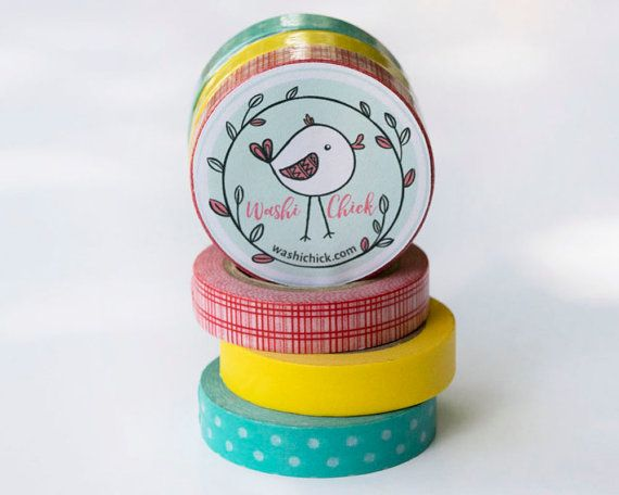 Set of Washi Tape - Aqua Dots, Yellow, and Red Plaid Washi Tape, 3 rolls, 10mm x 10 m each