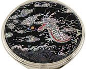 Mother of Pearl Makeup Mirror black dragon Design Cosmetic mirror Handbag Purse handheld Compact hand pocket Mirror