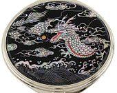 Mother of Pearl Makeup Mirror black dragon Design Cosmetic mirror Handbag Purse handheld Compact hand pocket Mirror