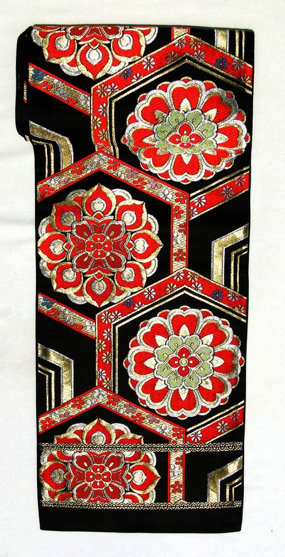 vintage japanese obi table runner wall hanging gold black red geometric multi woven silk. Black Bedroom Furniture Sets. Home Design Ideas