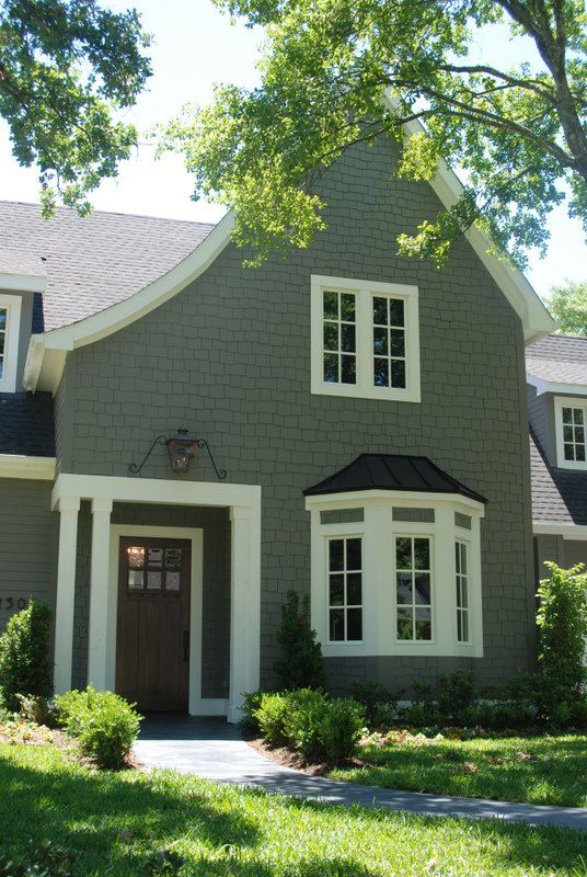 Benjamin Moore Amherst Gray - with black shutters, white trim