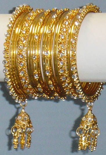 Indian, Gold Indian Bangles with Jhumkas & Diamante Jhumka Churi Choorian, Jewellery