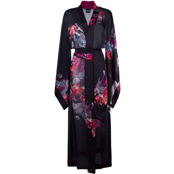 Carine Gilson dahlia print long kimono (33.325 ARS) ❤ liked on Polyvore featuring intimates, robes, black, long kimono, silk kimono robe, print kimono, carine gilson and long silk robe