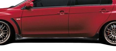 2008-2015 Mitsubishi Lancer Evolution 10 Carbon Creations RS Look Side Skirt Splitters - 2 Piece