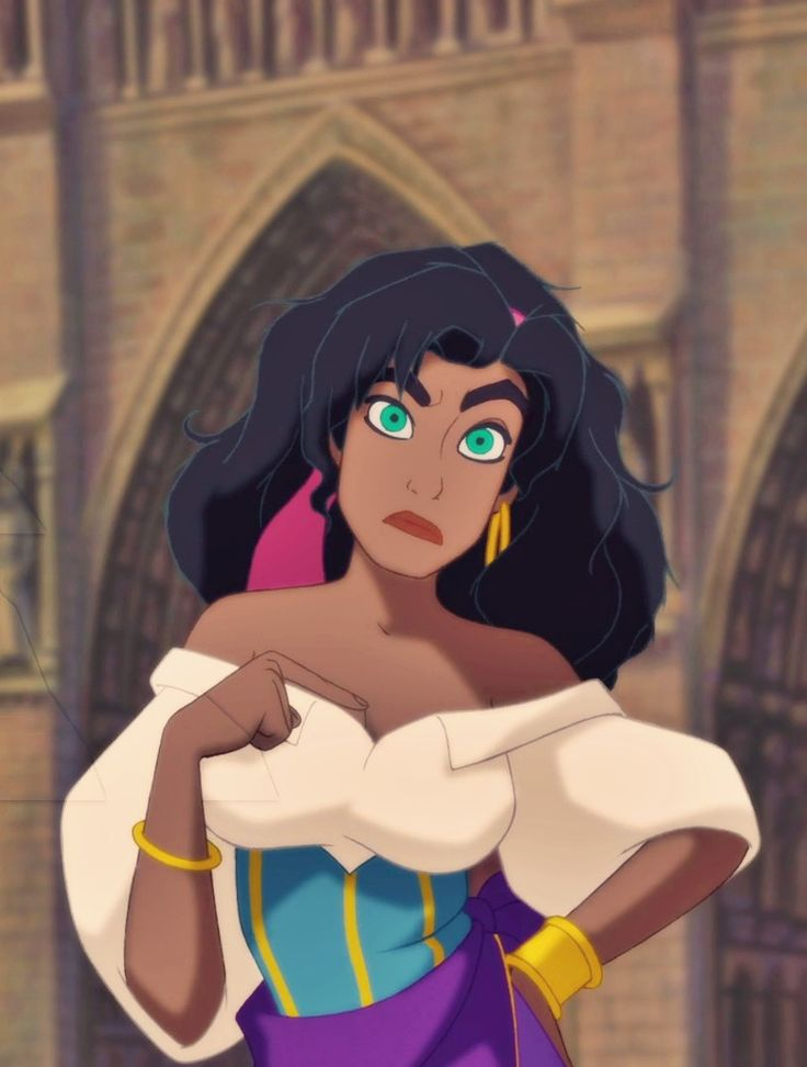 Beautiful, sassy, brave Esmerelda-- my favorite Disney girl.  Hunchback of Notre Dame festival of fools escape scene.