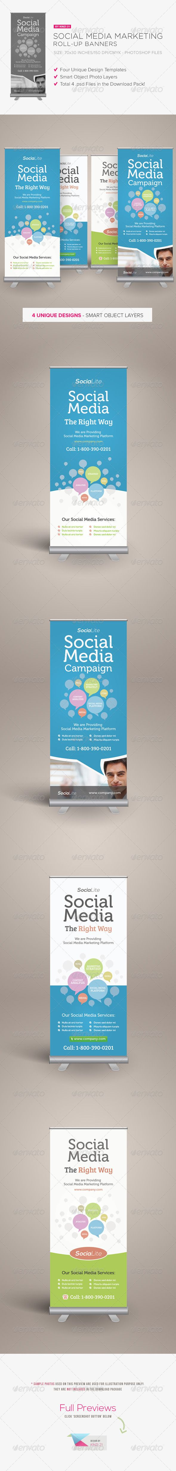 Social Media Marketing Roll-up Banners Template PSD. Download here: http://graphicriver.net/item/social-media-marketing-rollup-banners/3907853?s_rank=44&ref=yinkira