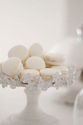 beautiful white french macarons