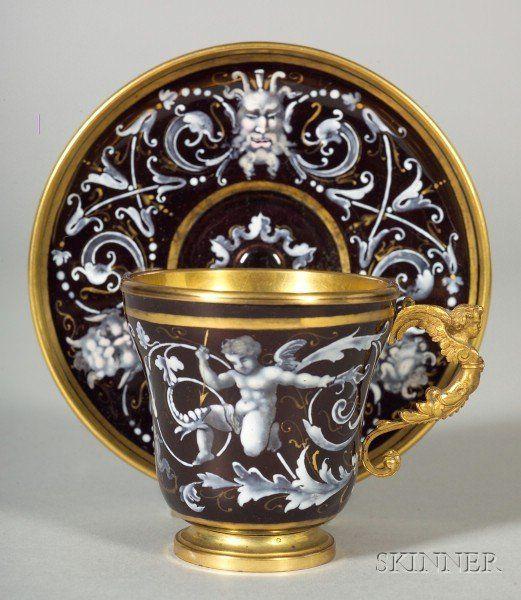 Limoges Winged Cherub Copper Enamel Renaissance Revival Cup & Saucer, mid 19th Century