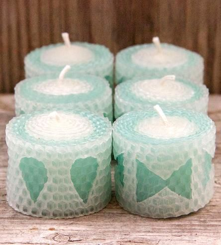 Aqua Teas Beeswax Tealight Candles – Set of 6 by La Toad on Scoutmob Shoppe
