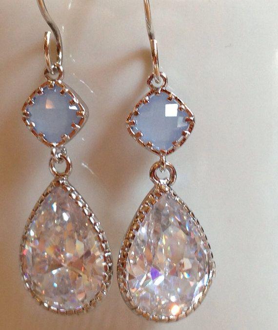 Bridal Periwinkle Blue & Cubic Zirconia CZ silver rhodium drop earrings (or Bridesmaid)  on Etsy, $42.00