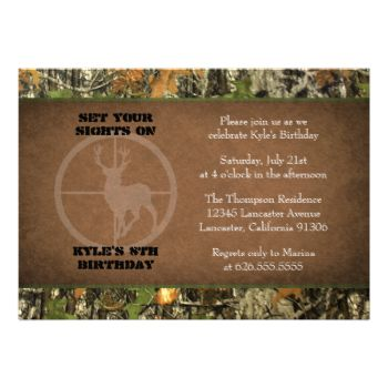 If you need custom colors or assistance in creating your invitations, feel free to contact me at zazzlepartydepot@gmail.com. I look forward to hearing from you! #kids #birthday #children #21st #hunting #hunter #camo #camouflage #deer #crosshair #16th