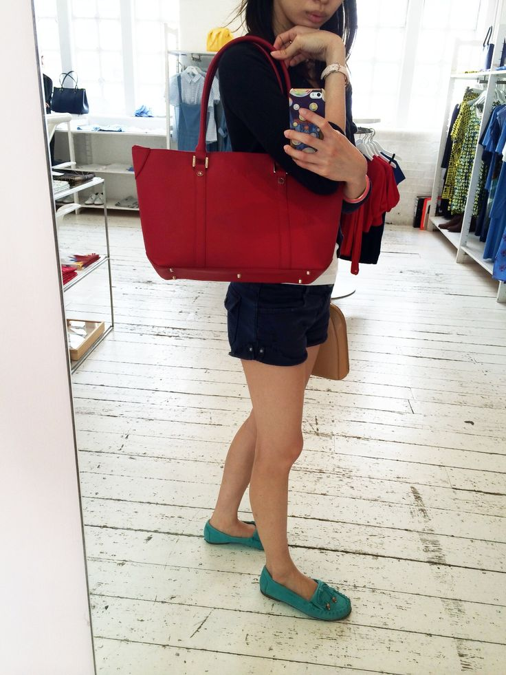 Agnes b red shoulder bag