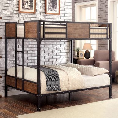 Austin Industrial Inspired Metal Full Size Bunk Bed for youth and teens' bedroom. Free delivery on all industrial style bunk beds.