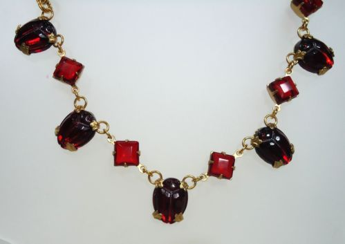 VTG Egyptian Revival Red Rhinestone Scarabs Necklace & Red Rhinestones - $95