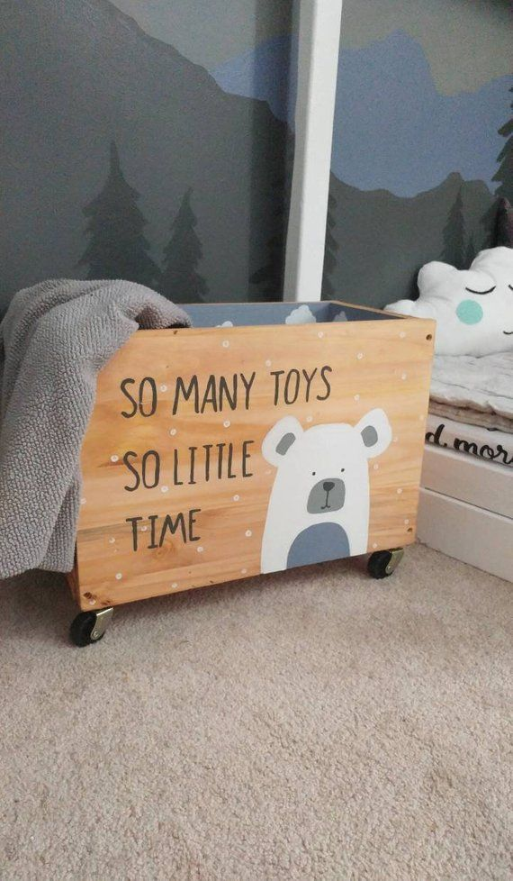 Toy box | Rolling toy box | So many toys so little time | Toy bin | Kids toy chest | Nursery | play room | Rolling bin | Woodland bear |