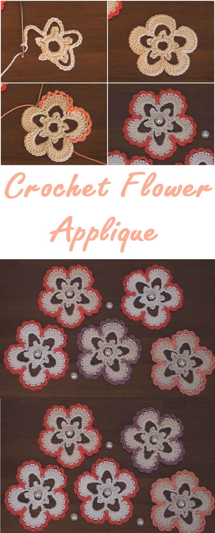 Crochet Flower Applique Free Pattern and Video Tutorial
