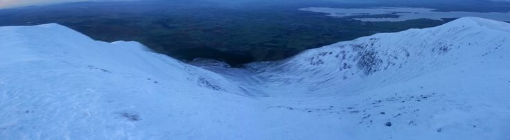 The snow covered crater on Nephin Mountain