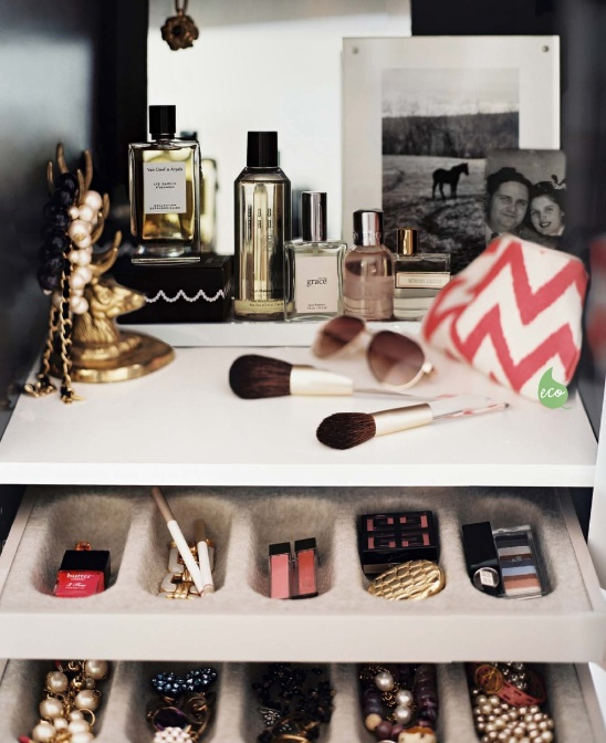 Great idea for small spaces - nook in bedroom with your beauty products  (lost original source - may be Lonny Magazine)