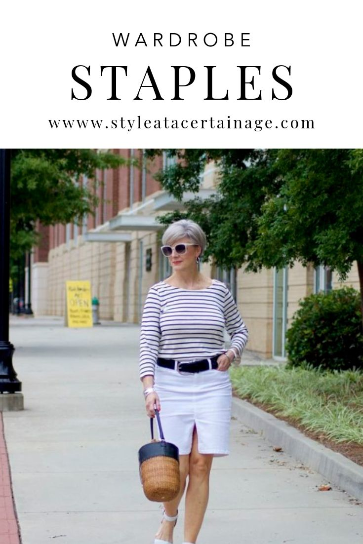 Whenever I'm pressed for time and looking for something to wear, I reach for classic wardrobe staples. on my short list of classic summer essentials is a striped tee, straw hat, and white denim. Visit Style at a Certain Age for all the summer wardrobe staples!  | Style at a Certain Age