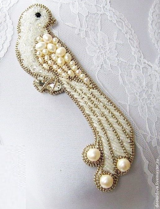 livemaster.ru シ broderie oiseau perles (beads embroidery bird)