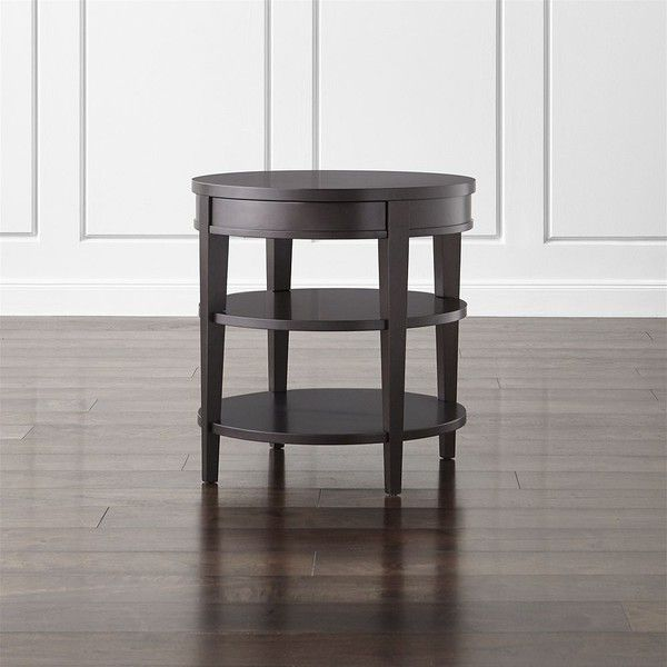 Crate & Barrel Colette Round Side Table with Drawer ($299) ❤ liked on Polyvore featuring home, furniture, tables, accent tables, circular side table, round furniture, drawer furniture, round end tables and crate and barrel side table