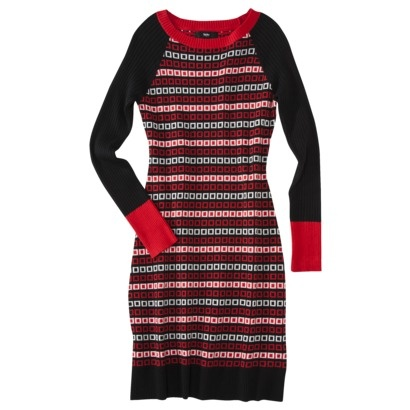 Mossimo® Women's Geometric Print Sweater Dress - Red/Black $35