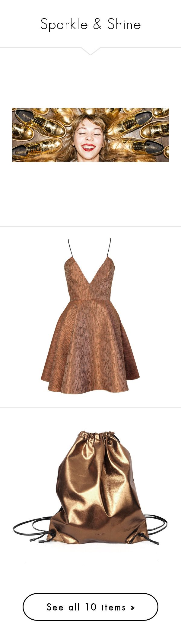 """Sparkle & Shine"" by wolfandbadger ❤ liked on Polyvore featuring dresses, vestidos, short dresses, cocktail dress, brown dress, stripe dress, bronze cocktail dress, striped cocktail dress, striped mini dress and bags"