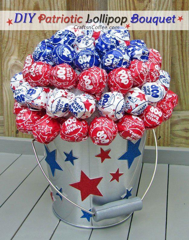 Easy summer craft idea -- How to make a Patriotic Lollipop Tree