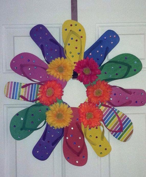Handmade Flip Flop Wreath Door Wall Decor Daisies on Etsy, $28.00
