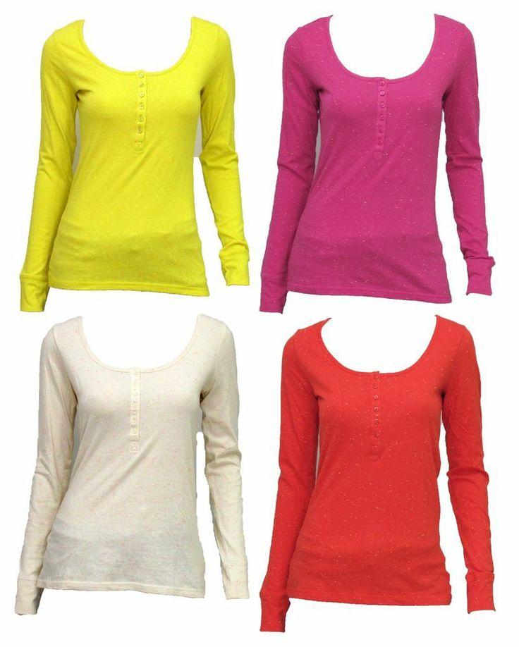 ARIZONA Juniors Slubbed Long Sleeve Henley Tee Shirt NWT