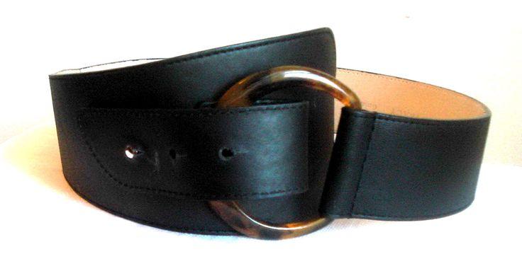 "Vintage Ellen Tracy Belt Genuine Black Italian Leather Tortoise Havana Ring Wide Medium 32"" Womens Waist Corset Cinch Fashion Designer Belt by MushkaVintage3 on Etsy"