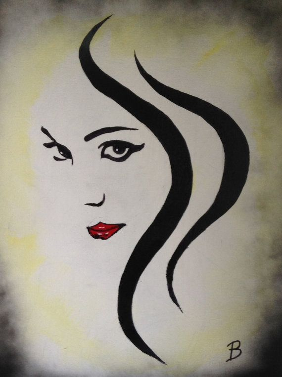 16 X20 Abstract Black And White Painting Of Woman With Red Lips