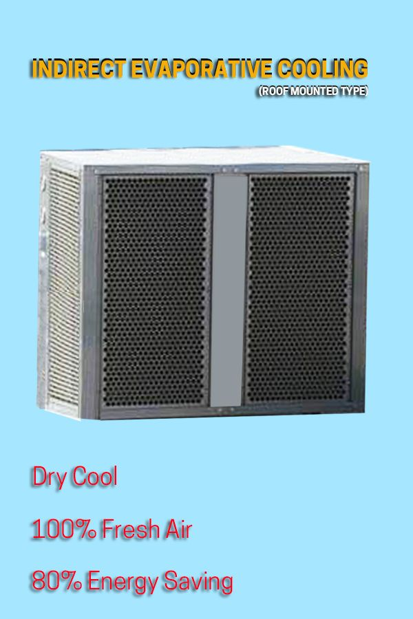 Indirect Evaporative Aircooler Roof Mounted Type Is Energy