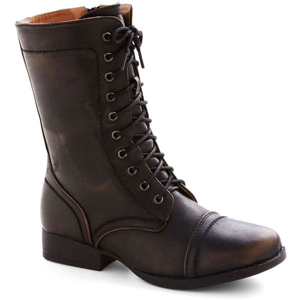 Bronze in a Lifetime Boot ($45) ❤ liked on Polyvore featuring shoes, boots, combat boots, bronze, faux leather, military, solid, black lace up boots, army boots and black laced boots