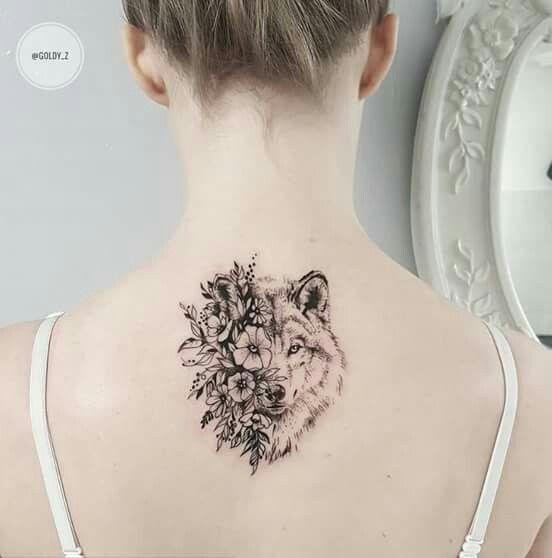 Flower wolf tattoo