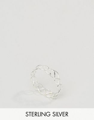 ASOS Sterling Silver Plaited Wire Ring