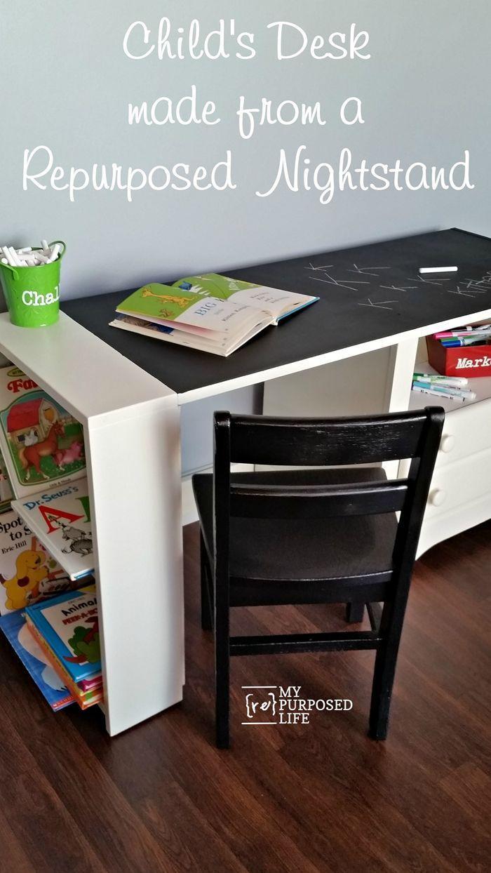 Repurposed chair ideas my repurposed life - Kid S Chalkboard Desk Using Repurposed Nightstand