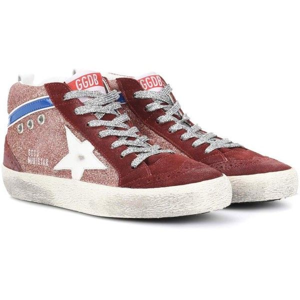 Golden Goose Deluxe Brand Mid Star Suede Sneakers ($445) ❤ liked on Polyvore featuring shoes, sneakers, red, colorful shoes, multi coloured shoes, suede trainers, golden goose shoes and multi color sneakers