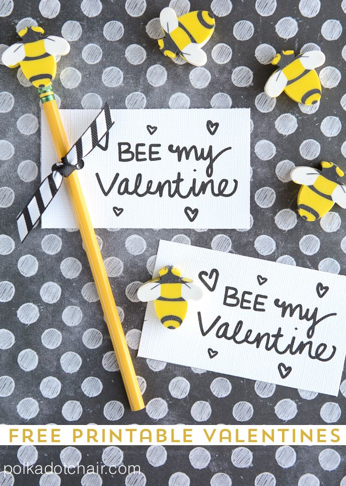 """""""Bee"""" My Valentine - free printable Valentine's. So cute with bee erasers for little kids or beeswax lip balm for big kids!"""