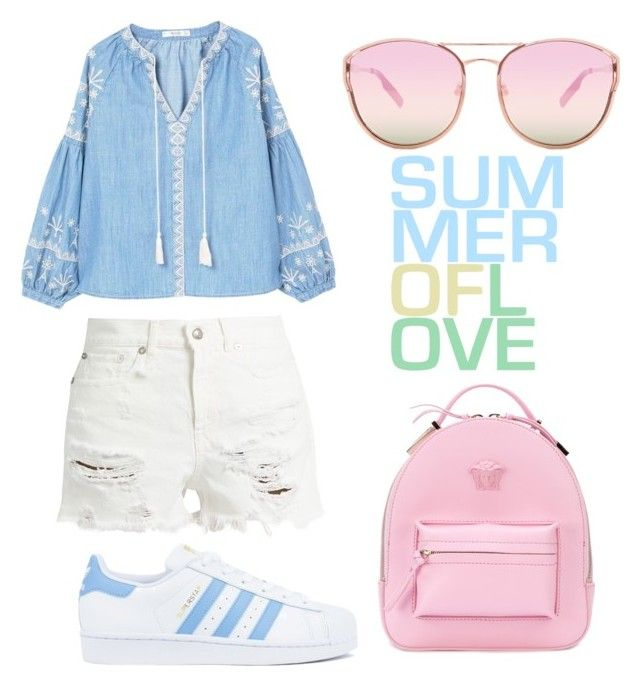 """""""Untitled #193"""" by zsofi-szibilla on Polyvore featuring R13, MANGO, adidas, Versace and Quay"""