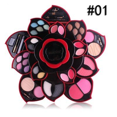 Black Flower Make up Kit Big Flower Matte Shimmer Eyeshadow Blush Multifunctional Cosmetic Kit $53.54