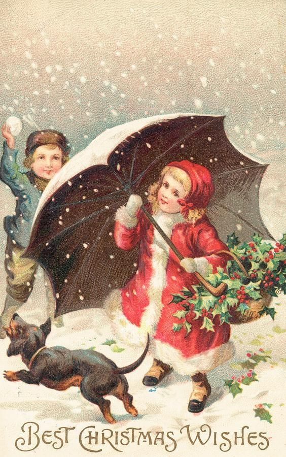 British Christmas card, with two children in winter clothing, shielded from the snow by an umbrella, and the legend, 'All Good Wishes for Christmas'.