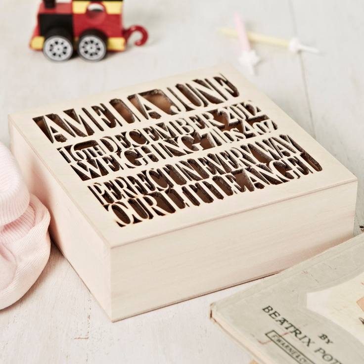 Personalised Wooden Baby Keepsake Box.