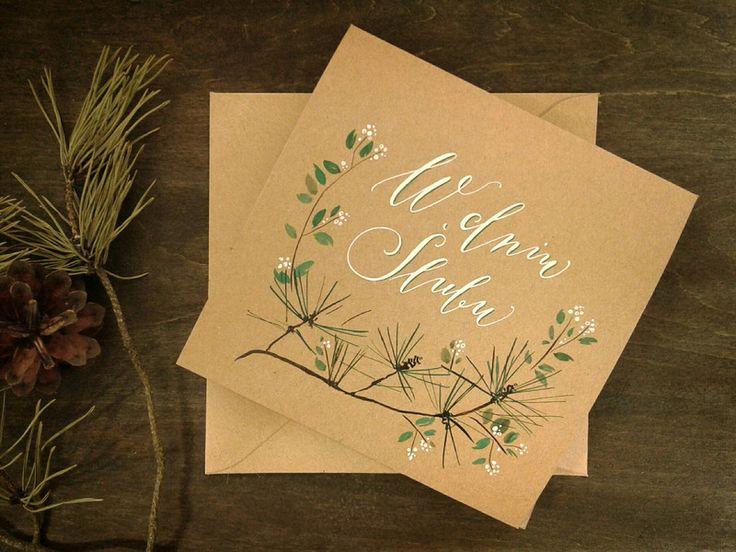 Wedding card calligraphy flowers
