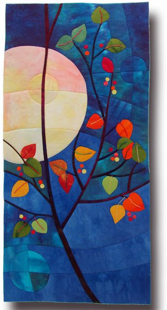 "October Gift #3. Hand dyed silk, cottons, fused, hand embroidered, machine quilted. 11.5""x 24"""