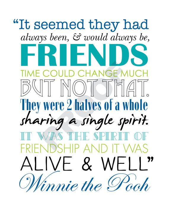 WINNIE The POOH PRINTABLE Friendship Quote Artwork Bright Colors Awesome Quotes From Winnie The Pooh About Friendship