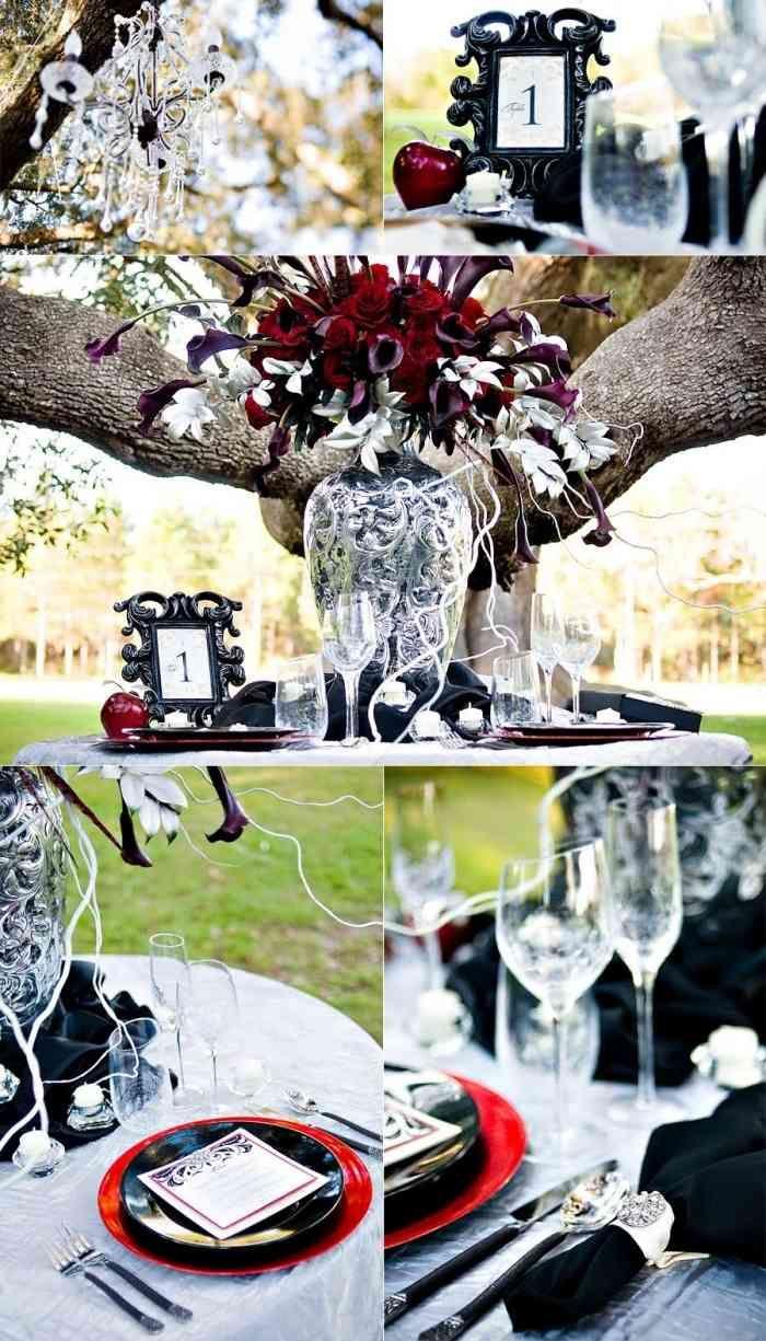 Atmosphärische Dekoration für den Außentisch-Vampir Hochzeit oder Vampir-Motto-Party