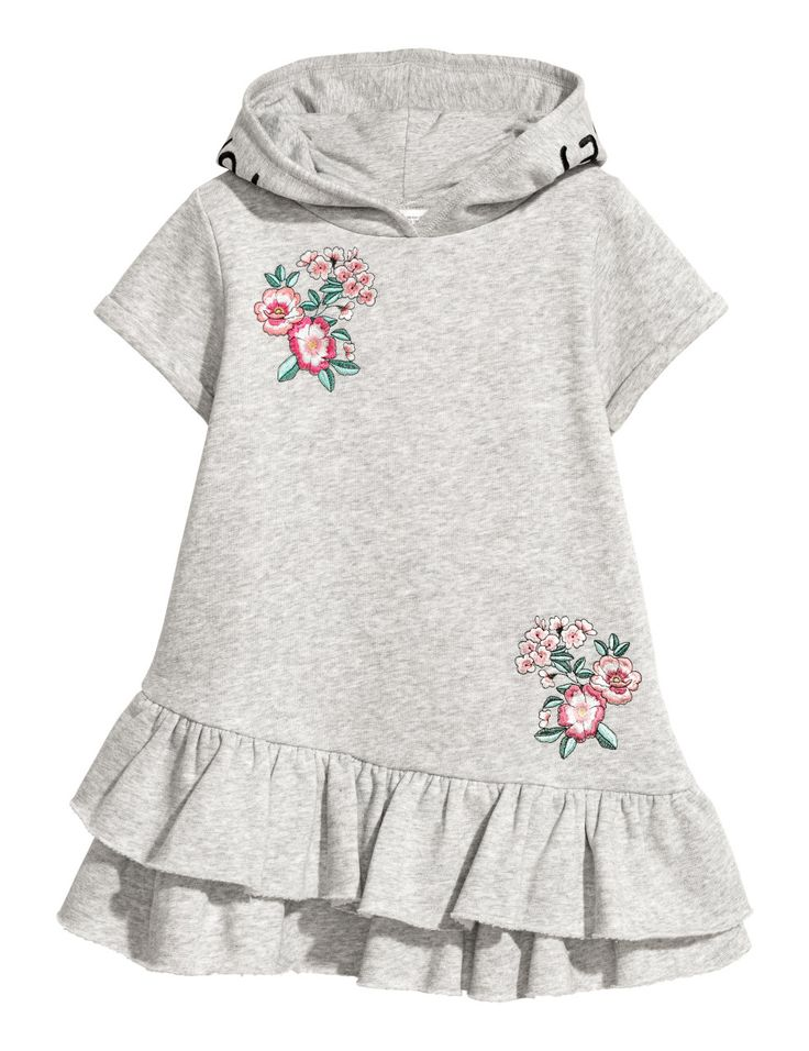 Check this out! Short-sleeved dress in sweatshirt fabric with embroidery. Hood, kangaroo pocket, and seam at lower section with double flounce. - Visit hm.com to see more.