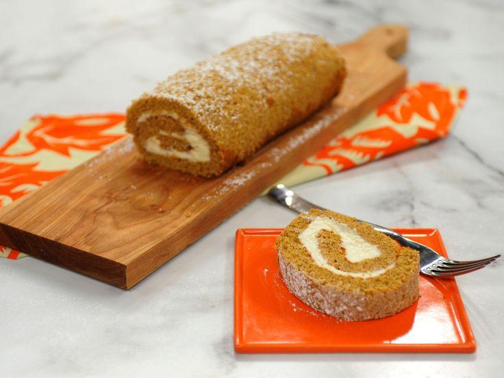 Pumpkin Roll Cake recipe from Katie Lee via Food Network